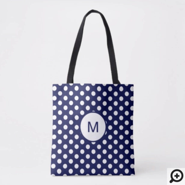 Navy Blue and White Polka Dot Pattern Monogram Tote Bag
