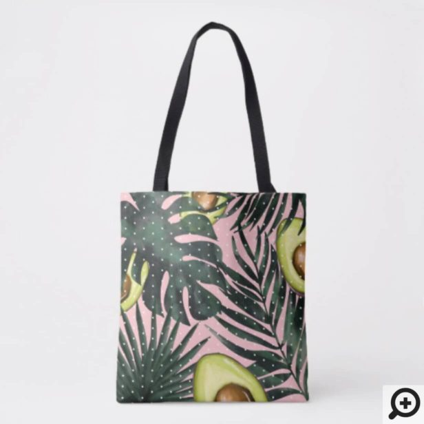 Modern Pink & Green Avocado Tropical Palm Leaves Tote Bag