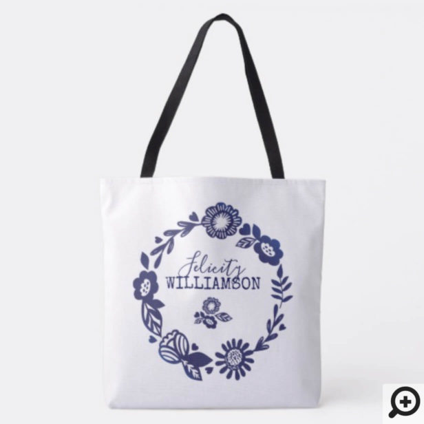 Modern Vintage Navy Blue & White Floral Wreath Tote Bag