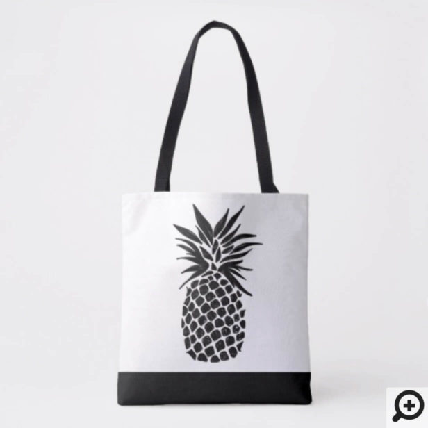 Black & White Tropical Pineapple Fruit Pattern Tote Bag