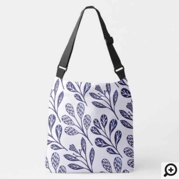 Modern Vintage Navy Blue & White Floral Branches Crossbody Bag