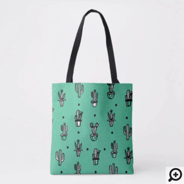 Cactus pattern in Black and emerald Green Tote Bag