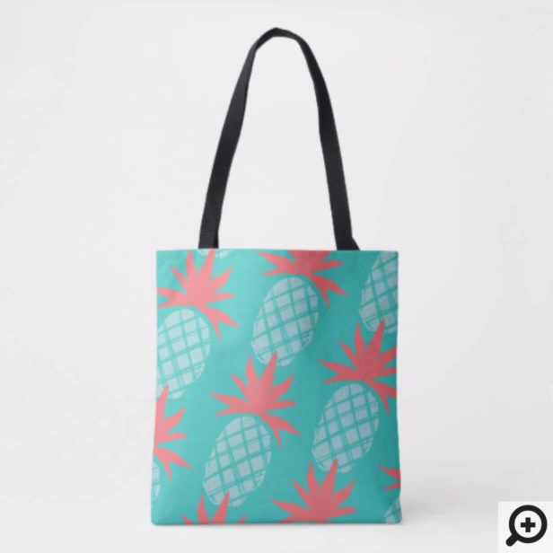 Bold Tropical Pineapple Fruit Print in Teal & Pink Tote Bag