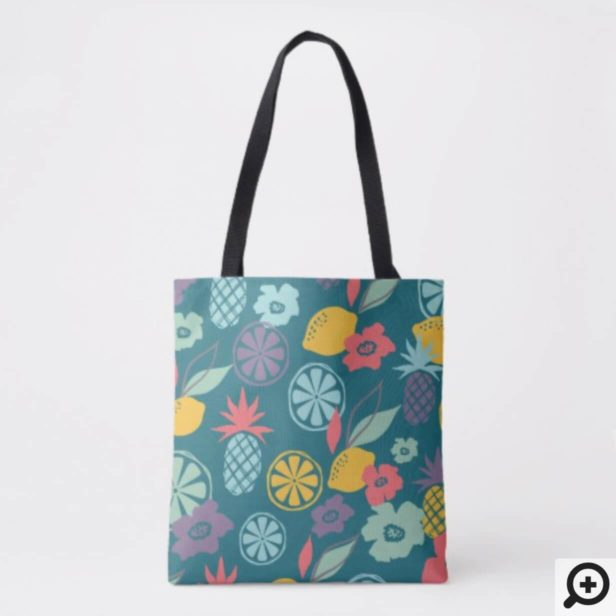 Colourful Modern Tropical Citrus Pineapple Pattern Tote Bag