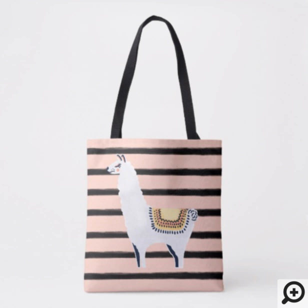 Fun Chic Llama & Stripe Pattern in Pink and Black Tote Bag