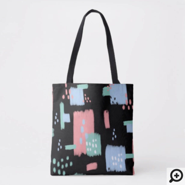 Black Modern Abstract & Artistic Paint Strokes Tote Bag