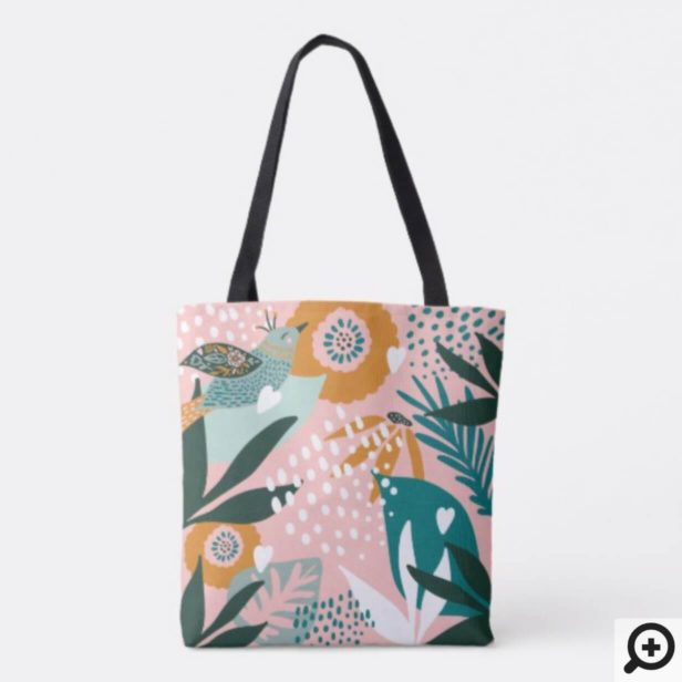 Bohemian Bird With Chic Floral Botanical Patterns Tote Bag