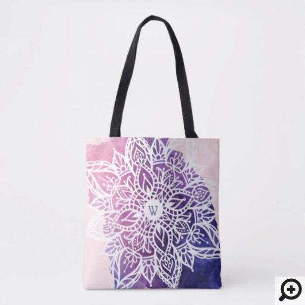 Spiritual Organic & Geometric Mandala Watercolor Tote Bag