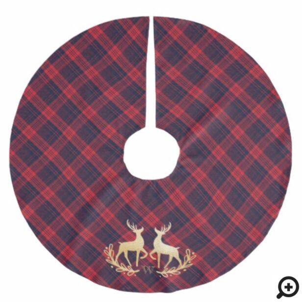 Navy Blue Red Plaid & Gold Reindeer Monogram Crest Brushed Polyester Tree Skirt