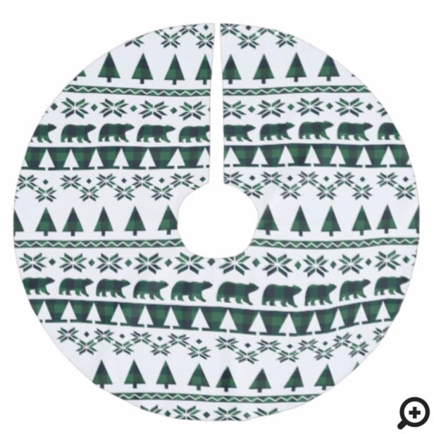 Green Buffalo Plaid Cozy Knitted Sweater Pattern Brushed Polyester Tree Skirt