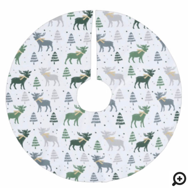 Festive Moose, Trees, and Snow Christmas Pattern Brushed Polyester Tree Skirt
