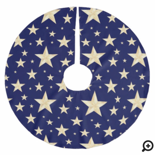 Modern Navy Blue & Faux Gold Foil Starry Night Brushed Polyester Tree Skirt