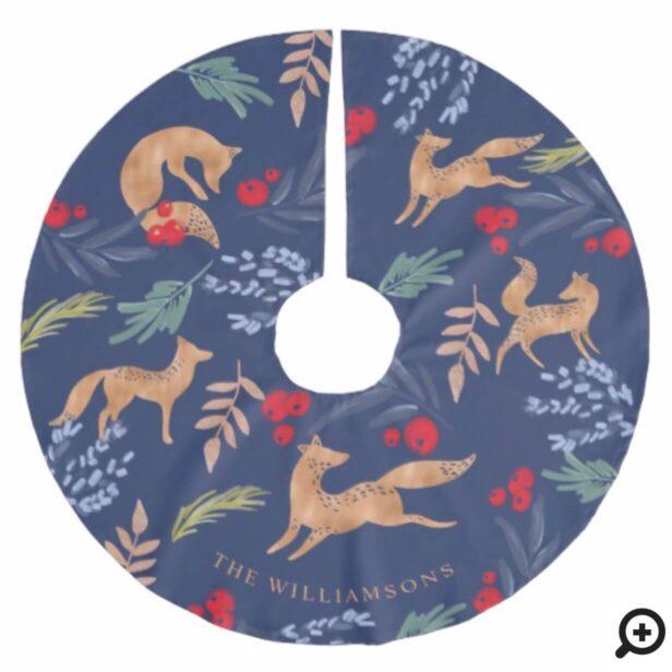 Watercolor Festive Christmas Foliage & Fox Pattern Brushed Polyester Tree Skirt