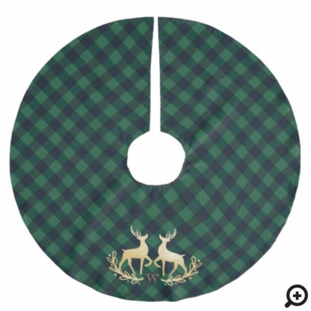 Green Buffalo Plaid & Gold Reindeer Monogram Crest Brushed Polyester Tree Skirt