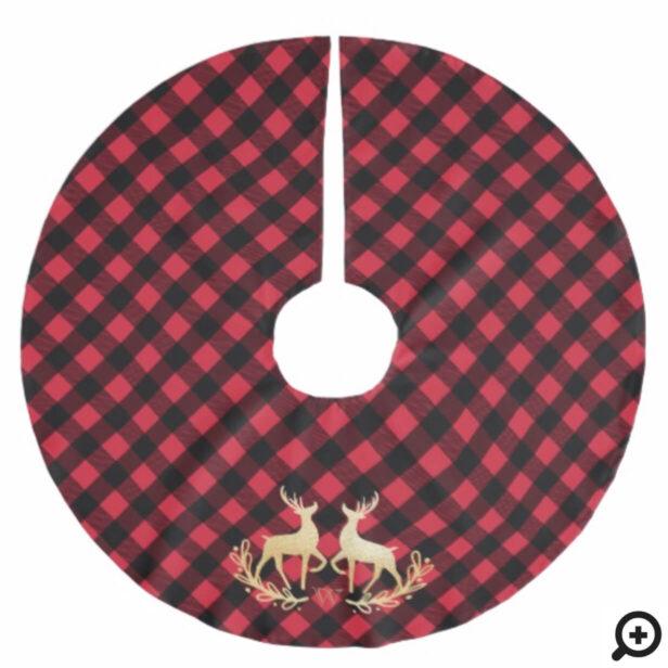 Red Buffalo Plaid & Gold Reindeer Monogram Crest Brushed Polyester Tree Skirt