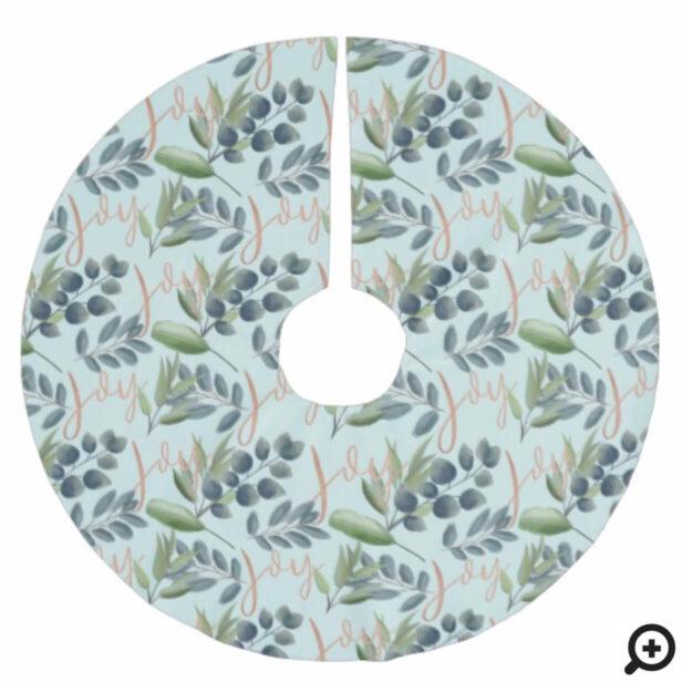 Joy Script Green Sage Floral Foliage Christmas Brushed Polyester Tree Skirt