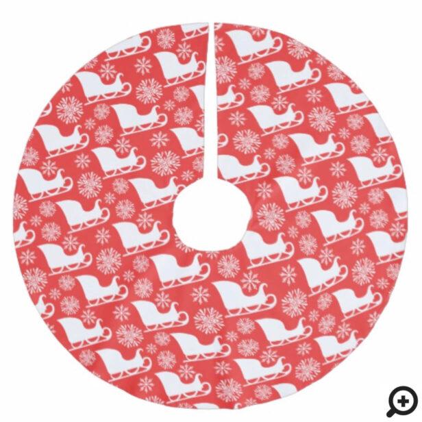 Red & White Winter Snowflake & Santa's Sleigh Brushed Polyester Tree Skirt