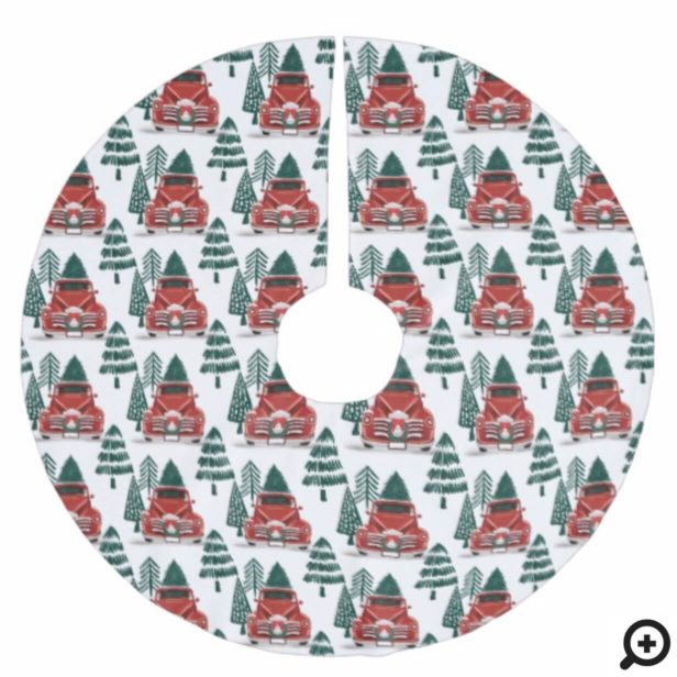 Front View Vintage Red Truck Christmas Tree Brushed Polyester Tree Skirt