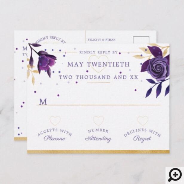 Vibrant Blooming Florals Ultra Violet & Gold RSVP Invitation Postcard