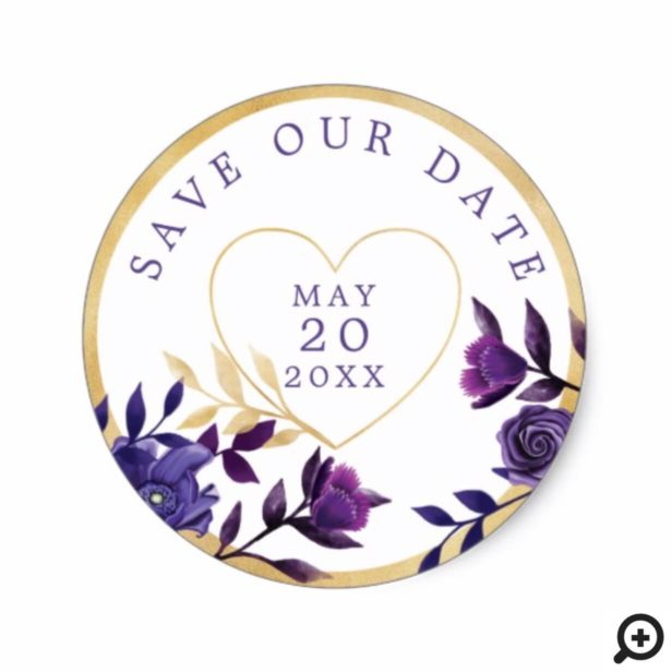 Vibrant Blooming Florals | Ultra Violet & Gold Classic Round Sticker