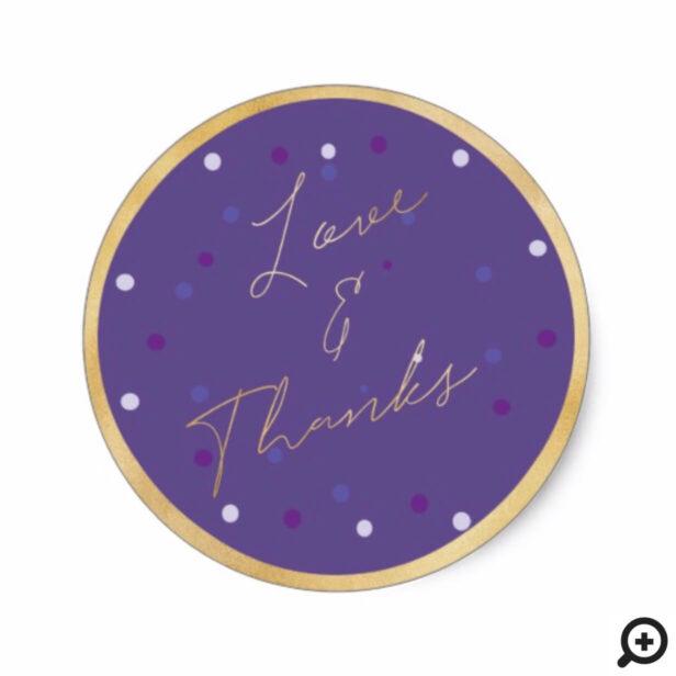 Vibrant Modern Polka Dot | Ultra Violet & Gold Classic Round Sticker
