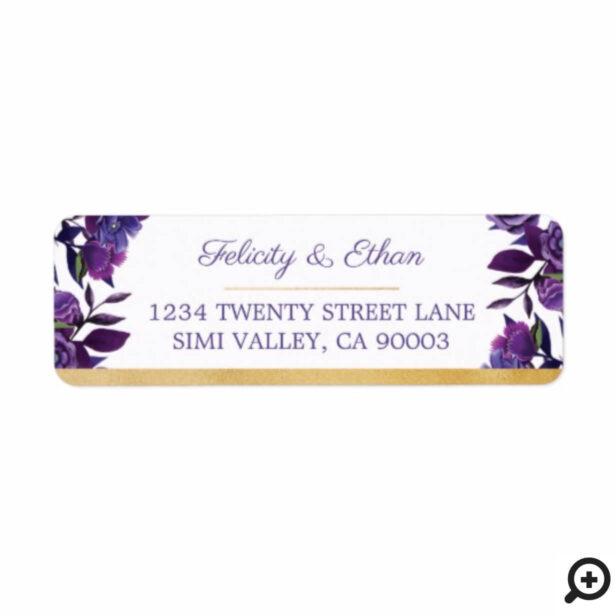Vibrant Blooming Florals Ultra Violet Gold (White) Label