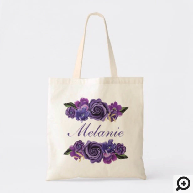 Personalized Tote - Ultra Violet Botanical Florals