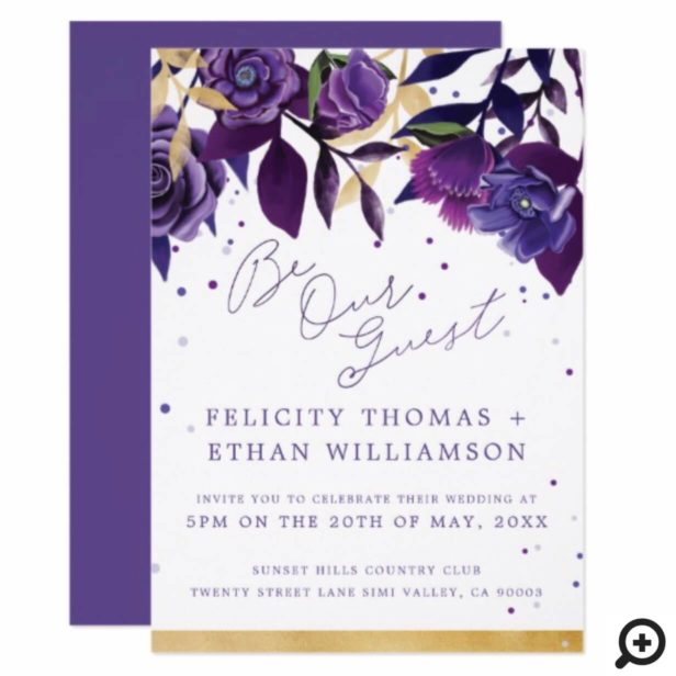 Florals Ultra Violet & Gold Wedding Invitation