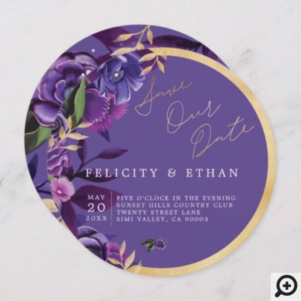 Florals Ultra Violet & Gold Wedding Save The Date