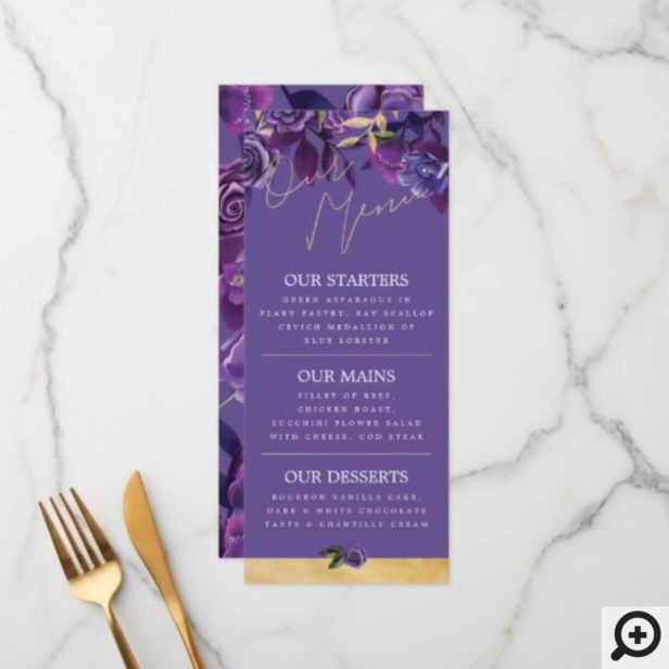 Vibrant Blooming Florals Ultra Violet & Gold Menu