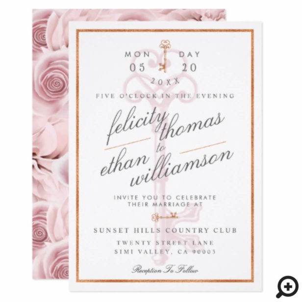 Blush Pink Floral Vintage Key Wedding Invitation