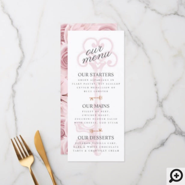 Feminine Pink Floral Vintage Key Wedding Menu