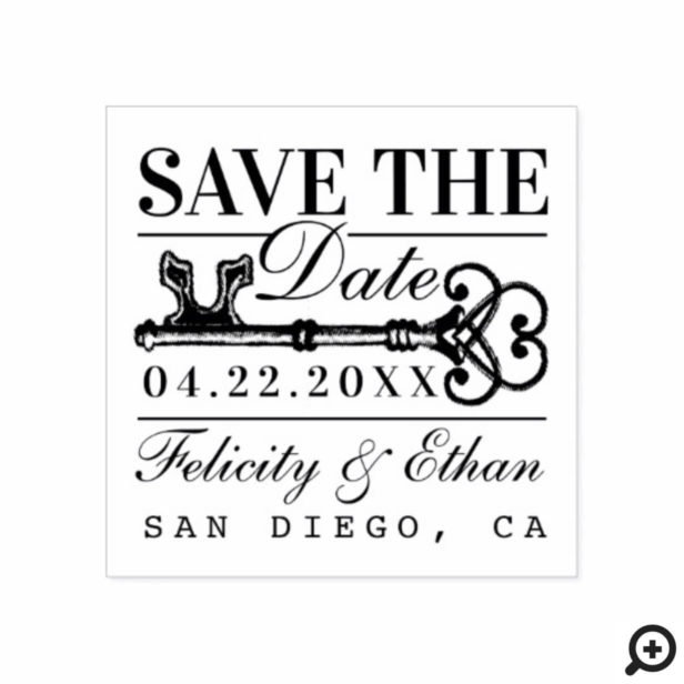 Save The Date Wedding Vintage Antique Key Rubber Stamp