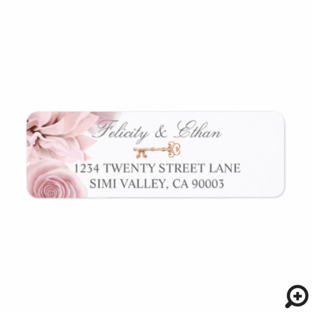 Blush Pink girly Floral Vintage Key Wedding label