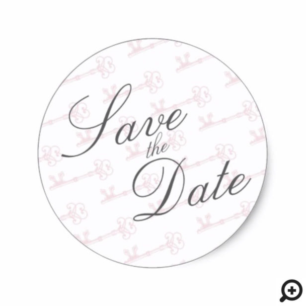 Blush Pink Feminine Vintage Key Save the Date Sticker