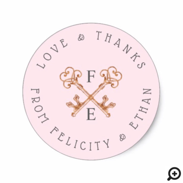 Blush Pink Feminine Vintage Skeleton Key Sticker