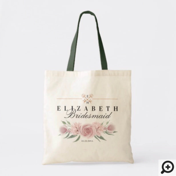 Personalized Wedding Tote - Vintage Key & Florals Tote Bag
