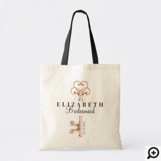 Personalized Wedding Tote Bag Antique Vintage Key