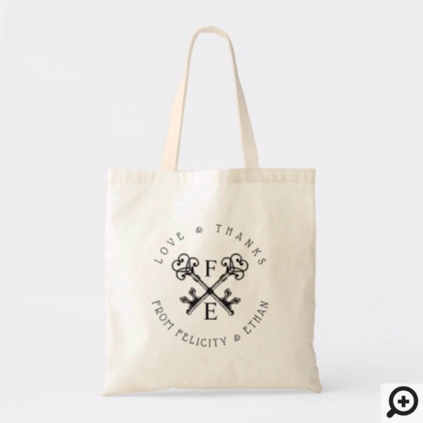 Black Antique Vintage Key Monogram - Thank You Tote Bag