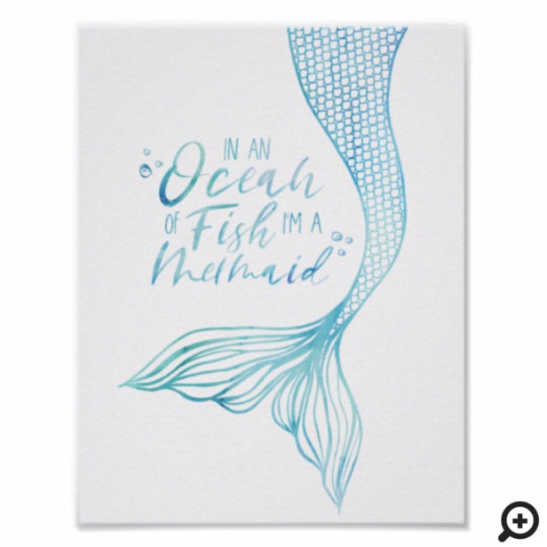 Typographic I'm a Mermaid Watercolor Mermaid Tail Poster