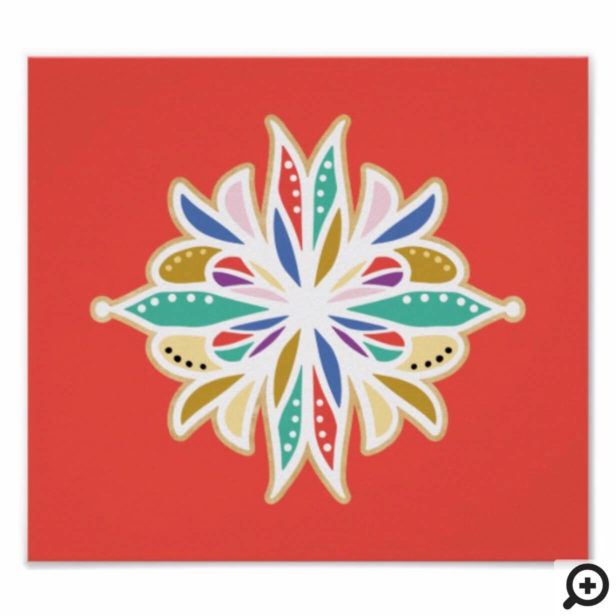Decorative Ornate Floral Mandala Lotus Poster