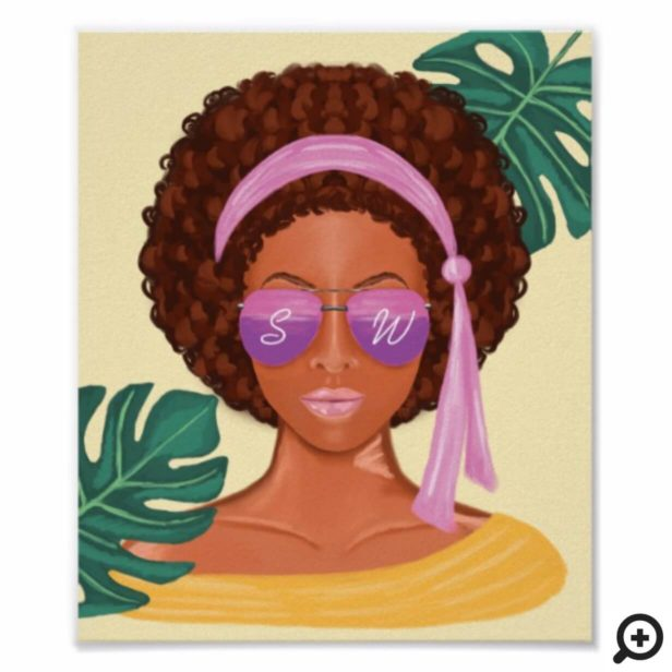 African American Beach Beauty Retro Tropical Poster