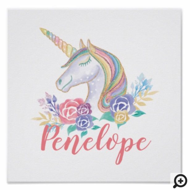 Personalzied Magical Unicorn & Floral Illustration Poster
