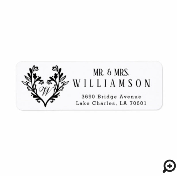 Floral Flower Heart & Monogram Mr. & Mrs. Wedding Label