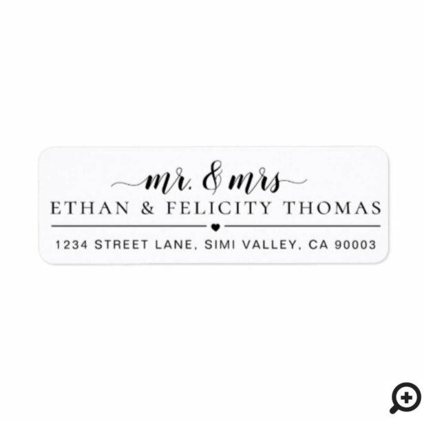 Mr. & Mrs. | Minimal Bride & Groom Heart Wedding Label