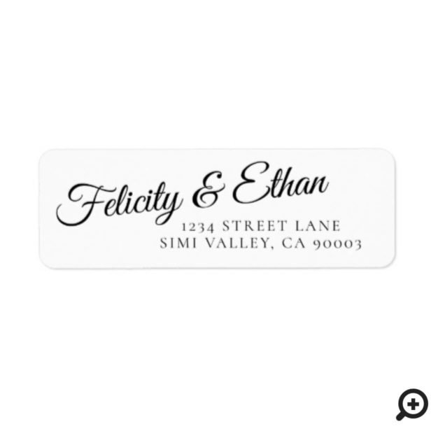 Mr. & Mrs. | Minimal Bride & Groom Script Wedding Label