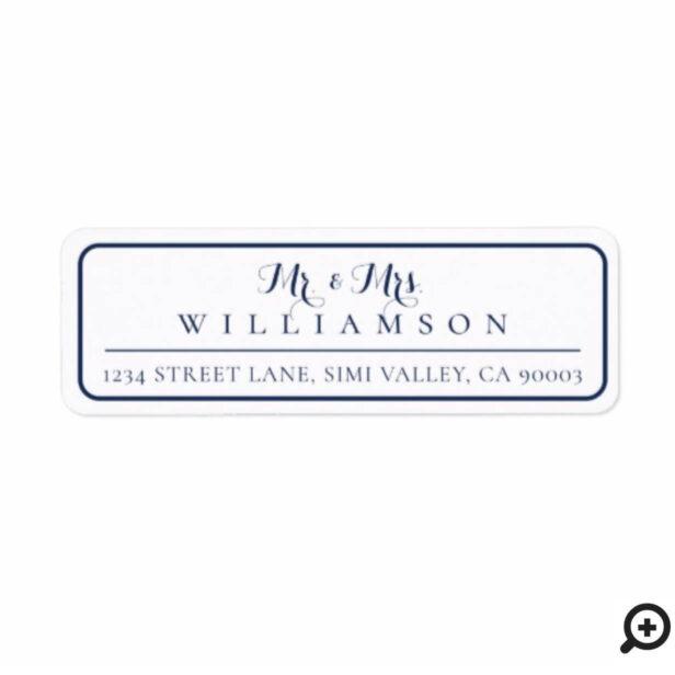 Mr. & Mrs. | Minimal & Elegant Navy Frame Wedding Label