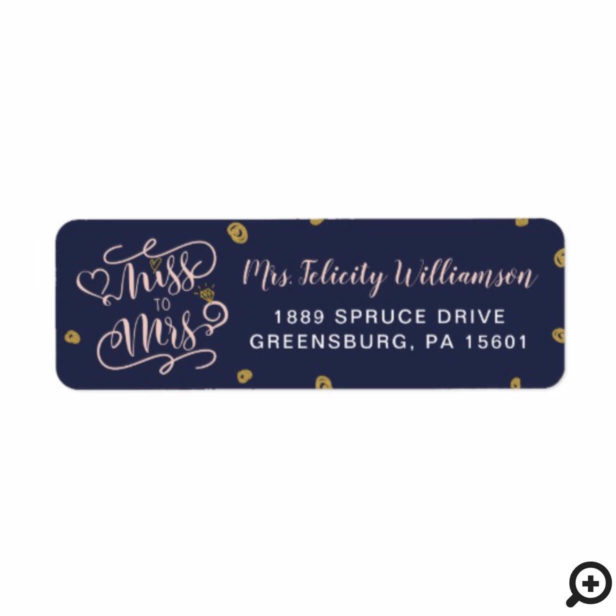 Miss To Mrs | Navy & Pink Gold Heart Ring Wedding Label