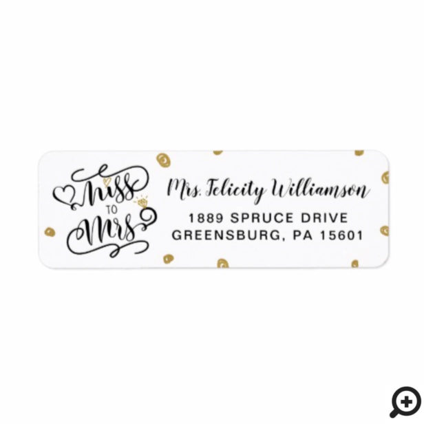 Miss To Mrs | Black & Gold Heart & Ring Wedding Label