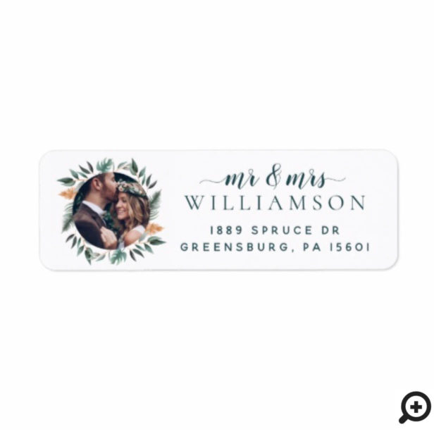 Mr & Mrs | Chic Sage Holiday Greenery Wreath Photo Label